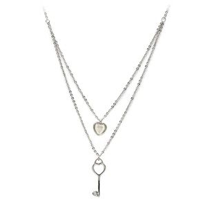 Silver duplexes lovely heart key necklace